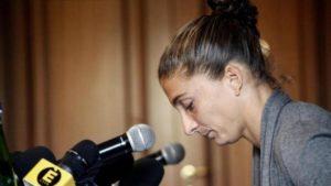 Sara Errani nella conferenza stampa dopo la positività al controllo antidoping