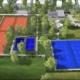 Una veduta dei campi del nuovo centro sportivo di Cattolica (rendering)