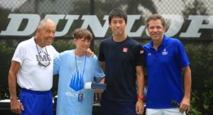 Giorgio Gatto con Bollettieri, Nishikori e Arias