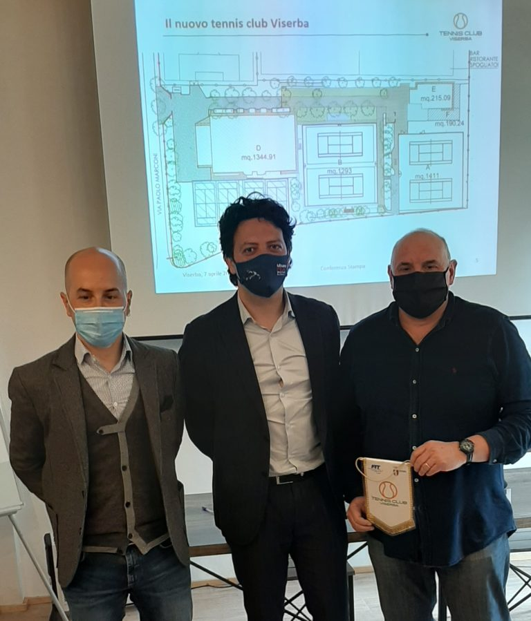Conferenza stampa Tc Viserba: Fabio De Santis, l'assessore Mattia Morolli e il presidente Marco Paolini