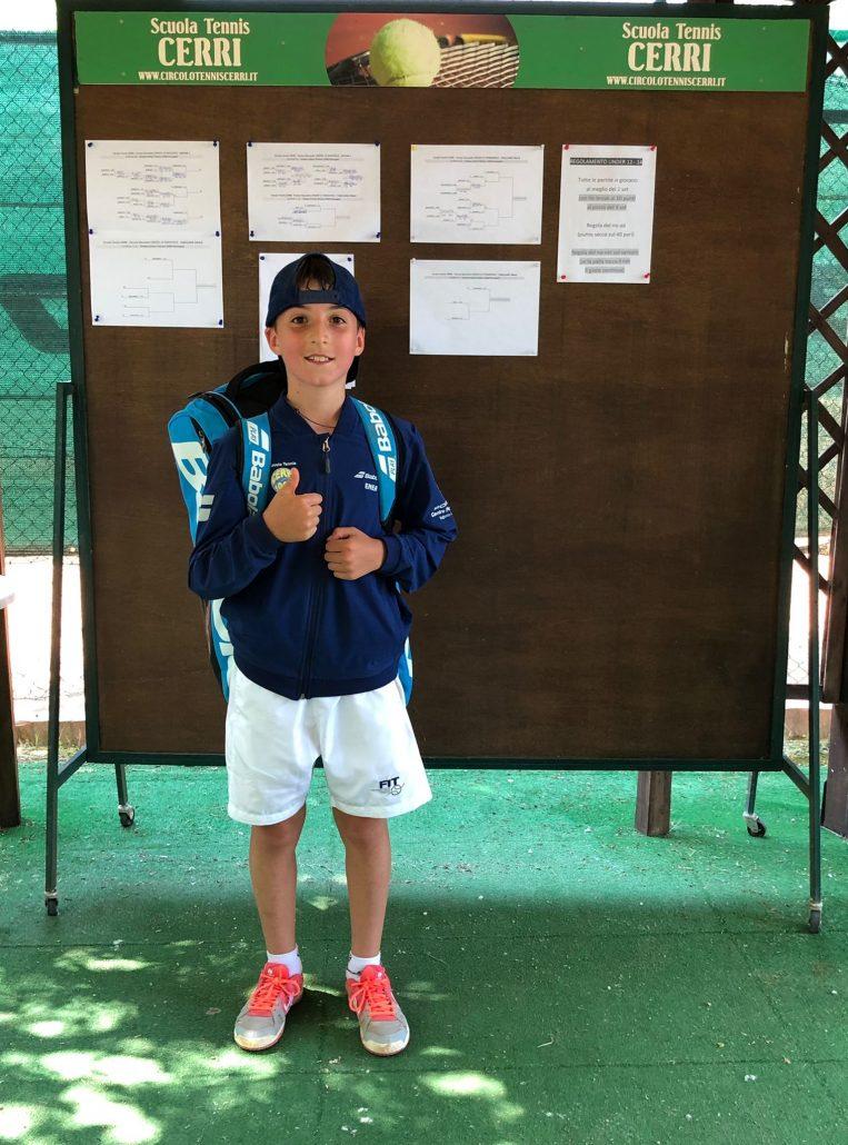 Torneo giovanile Ct Cerri, Enea Sabatini brilla sui campi di casa